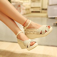Ankle Strap Linen Women Sandals Wedge Heels Shoes for Summer 4706