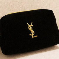 YSL embroidery for men and women universal portable simple bag large capacity wash gargle bag velvet cosmetic bag small portable