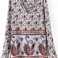 V Neck Long Sleeve Paisley Pattern  Blouse
