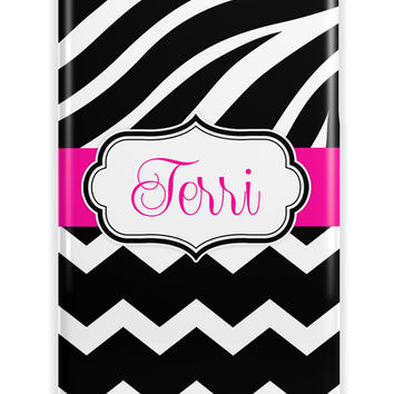 ZEBRA AND CHEVRON - MONOGRAMMED IPHONE CASE