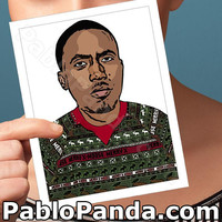 Christmas Cards | Nas | Hip Hop Rapper Happy Holidays Unique Holiday Card Boyfriend Card Girlfriend Card Boyfriend Gift Bff Card Men Gift