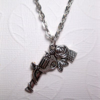 Silver Bang Guns And Roses Gun Necklace - With or Without Bail Connector