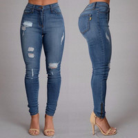 Brand new fashion trend female ripped broken hole distressed denim pencil pants street wear slim fit butt lift  jeans for women