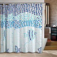 Blue Mosaic Fishes Shower Curtain