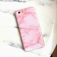 Pink Marble Phone Case For iPhone 7 7Plus 6 6s