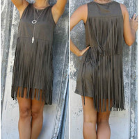 Long Fringe Suede Sleeveless Dress