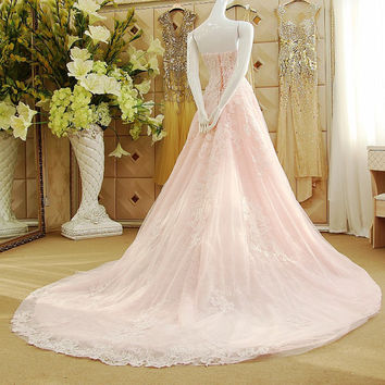 Sweetheart Chapel Train Lace Wedding Dress Evening Dress Prom Gown