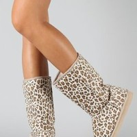 Leopard Round Toe Mid Calf Faux Shearling Boot Camel: Shoes