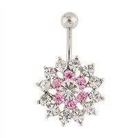MyMei® Sexy and Luxury Zircon Crystal Body Piercing Surgical Navel Button Belly Ring with Gem Pink