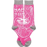 Nap All Day, Sleep All Night, Party Never Sloth Pink Funny Novelty Socks with Cool Design, Bold/Crazy/Unique/Quirky Specialty Dress Socks