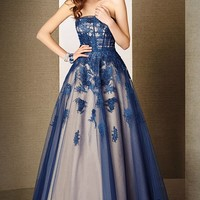 Alyce 5634 Tulle with Lace Applique Two-Toned Strapless A-Line Ballgown Dress
