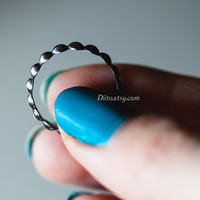 Size 6, Oxidized Sterling Silver Bead Ring, Handmade Jewelry, Minimalist Jewelry, Simple Rings, Ready To Ship!