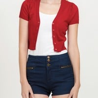 V Neck Bolero Cropped Knit Cardigan (CLEARANCE)
