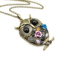 Texture Long Version Owl Style Necklace