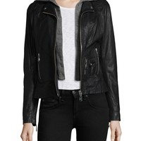 Doma Leather | Black Leather Hooded Jacket | Lyst