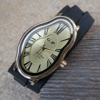 Women's Watch Inspired by Salvador Dali. Black Leather Strap Gold Face
