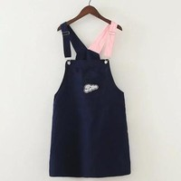 Navy Pink Block Suspender Dress With Cloud Brooch sold by Moooh!!