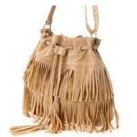 Beige Faux Suede Fringe Tassel Cross-body Shoulder Bag Purse