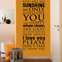 Quote wall decal - You are My Sunshine - Wall Decals , Home WallArt Decals