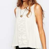 Maison Scotch Sleeveless Cotton Drape Top with Embroidery in Cream