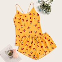 Cherry Print Cami PJ Set