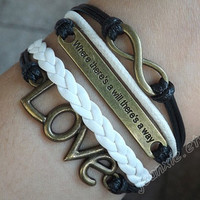 """Full of infinite love Valentine's bracelet-Antique bronze""""where there's a will there's a way""""bracelet, LOVE & unlimited bracelet J-43"""