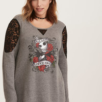 Nightmare Before Christmas Pumpkin King Lace Inset Sweater