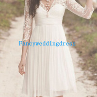 White Backless V-neck Lace Short Half-sleeve Chiffon Short Bridesmaid Dress Formal Dress Wedding Dress Prom Dress Cocktail Dress Party Dress