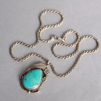 70s STERLING Turquoise PENDANT / NAVAJO Silver Leaf & Scroll Necklace