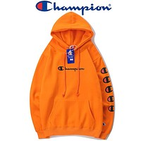 Champion 2018 autumn and winter print string couple lovers hoodie F-A-KSFZ orange