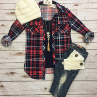 Penny Plaid Flannel Top: Coral/Navy