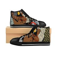 Earth Collage Men's High-top Sneakers
