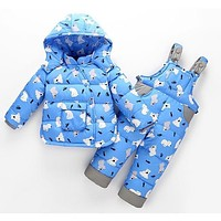 2017 new Baby girl boy toddler winter Rompers Clothes Infant hooded duck down sets jackets coats+overalls 2-5y baby outwear