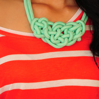 All Knotted Up Necklace: Mint