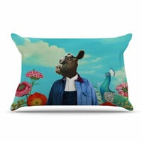 "Natt ""Family Portrait N2"" Blue Cow Pillow Case"
