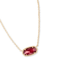 Kendra Scott: Elisa Pendant Necklace In Burgundy Illusion