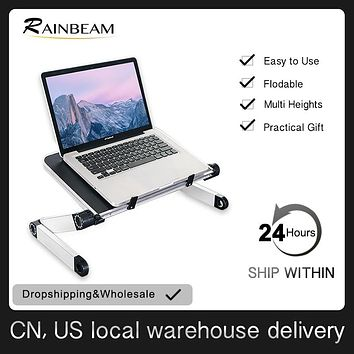 Ergonomic Laptop Stand Lap Desk Table for Bed Couch Picnic Breakfast Book Stand Folding Adjustable Height 360 Degree Angle