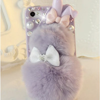 For iPhone 6 4.7inch case Cute Kawaii Case Rabbit Fur Plush Bling Skin Back Cover