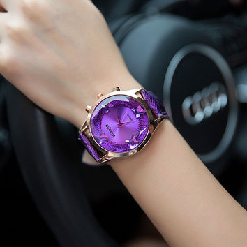 Korean fashion butterfly big dial ladies watch