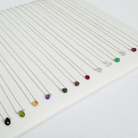 Tiny Gem Necklaces in Silver
