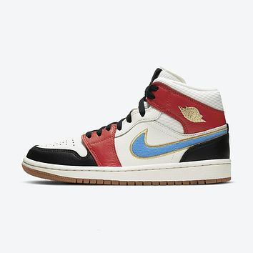 Air Jordan 1 Mid Black/Red/White/Blue/Yellow sneakers basketball shoes