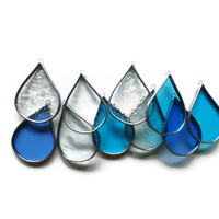 Stained Glass April Shower Rain Drops - Set of 10 Blue & Clear Suncatchers Window Ornaments