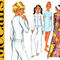 1970s Jumpsuit Pattern Uncut Bust 36 McCalls 2338 Caftan Robe Nightgown Dropseat Jumpsuit Union Suit Pajamas Womens Vintage Sewing Patterns