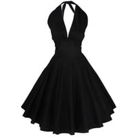 Womens Strapless Backless Sexy V Neck 50s 60s Vintage Retro Dress