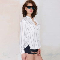 Black and White Striped Double Pocket Long Sleeve Blouse with Slit