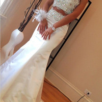 Two Pieve Prom Dresses, White Prom Dresses, Long Evening Dress