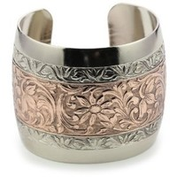 1928 Jewelry Patterned Silver-Tone and Rose Gold-Tone Cuff Bracelet