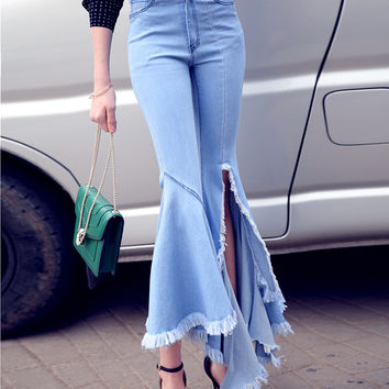 [TWOTWINSTYLE] 2016 Autumn Fashion Long Slit Tassel Ripped Irregular Flares Jean Deinm Pants Women New Trouser