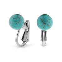 Bling Jewelry Turquoise Clip Ons