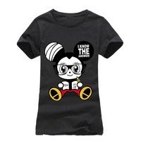Black Smart Mickey Mouse I know the answer Fashion Ladies Trendy Top tee t-shirt shirt 001